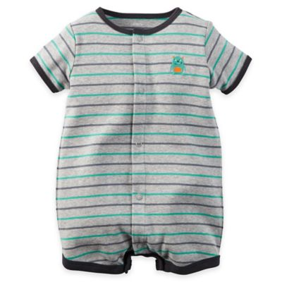 carter's® Size 3M Snap-Up Striped Cotton Romper in Grey