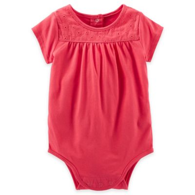 Oshkosh B'Gosh® Size 3M Eyelet Lace Short Sleeve Bodysuit in Red
