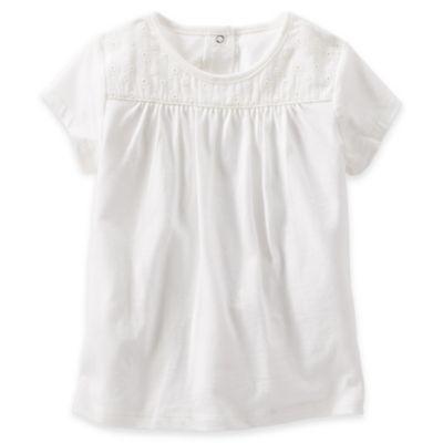 Oshkosh B'Gosh® Size 4T Eyelet Lace Short Sleeve T-Shirt in White