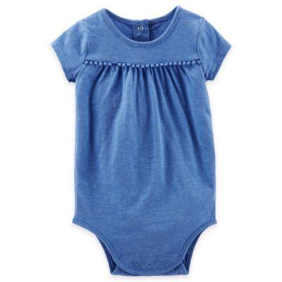 Oshkosh B'Gosh® Size 6M Heathered Pom-Pom Trim Short Sleeve Bodysuit in Blue