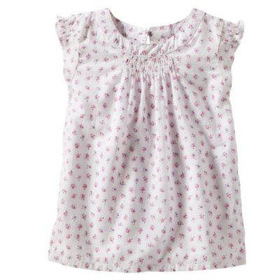 Oshkosh B'Gosh® Size 2T Floral Smocked Flutter Sleeve T-Shirt in White/Pink