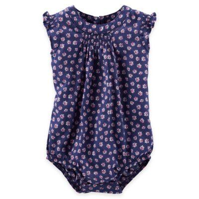 Oshkosh B'Gosh® Size 9M Floral Smocked Flutter Sleeve Bodysuit in Blue