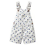 Oshkosh B'Gosh Size 3M Heart Print Twill Shortall in White/Blue