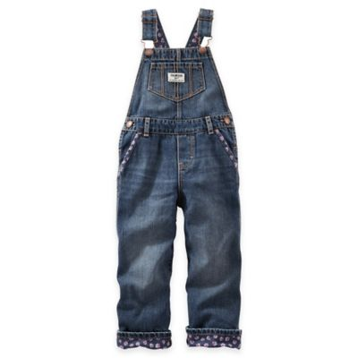 OshKosh B'Gosh Size 3M Denim Overall with Floral Trim in Navy/Red