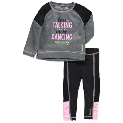 "Reebok® Size 12M 2-Piece ""Less Talking More Dancing"" Top and Pant Set in Grey/Black/Pink"