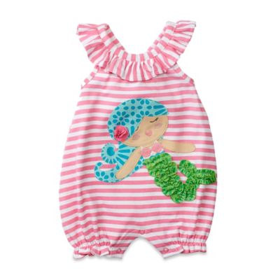 Mud Pie® Size 6M Mermaid Striped Ruffle Neck Bubble Romper in Pink/Multicolor