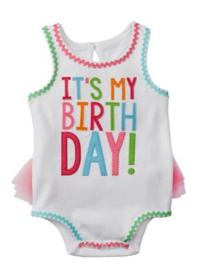 "Mud Pie® Size 18M ""It's My Birthday!"" Ruffled Tank Top Bodysuit in White/Multicolor"