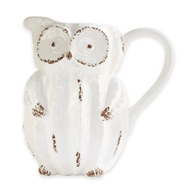 American Atelier Earthenware Owl Pitcher in White