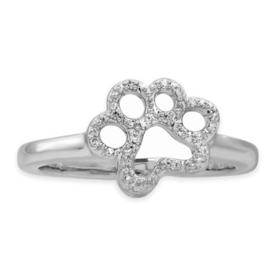 ASPCA® Tender Voices Sterling Silver .06 cttw Diamond Size 7 Ladies' Paw Ring