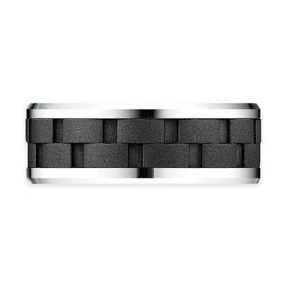 Cobalt Beveled Edge Black Link Pattern Size 9.5 Men's Comfort-Fit Wedding Band
