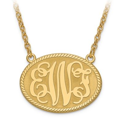 14K Gold-Plated Sterling Silver 18-Inch Chain Elegant Letters Small Oval Plate Pendant Necklace