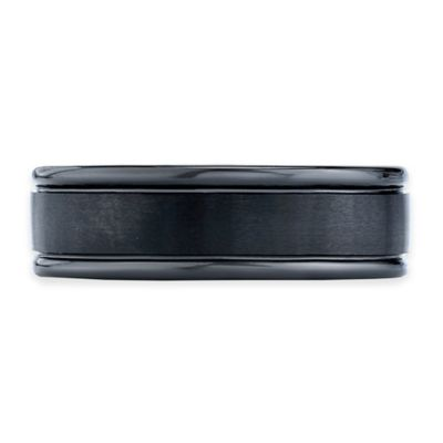 Black Cobalt Satin-Finished Inlay Size 11.5 Men's Comfort-Fit Wedding Band