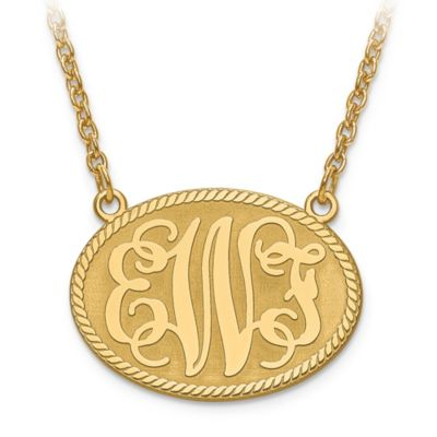 14K White Gold 18-Inch Chain Elegant Letters Small Oval Plate Pendant Necklace