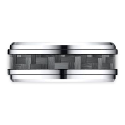 Cobalt Drop Beveled Edge Carbon Fiber Design Size 10 Men's Comfort-Fit Wedding Band