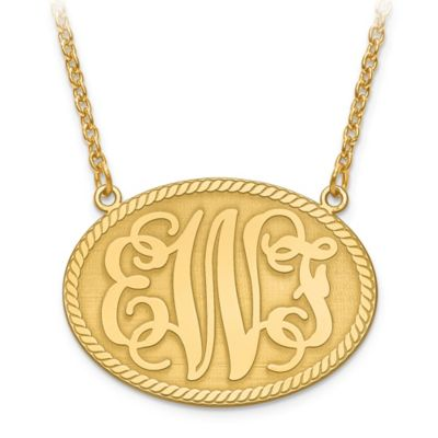 14K Gold-Plated Sterling Silver 18-Inch Chain Elegant Letters Medium Oval Plate Pendant Necklace