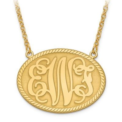 14K Yellow Gold 18-Inch Chain Elegant Letters Medium Oval Plate Pendant Necklace