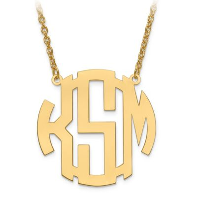 14K Gold-Plated Sterling Silver Block Letter 18-Inch Chain Medium Circular Pendant Necklace