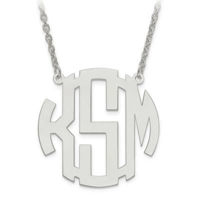 14K White Gold Block Letter 18-Inch Chain Medium Circular Pendant Necklace