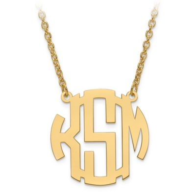 Sterling Silver Block Letter 18-Inch Chain Small Circular Pendant Necklace