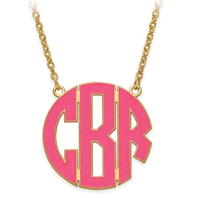 Sterling Silver Enamel Block Letter 18-Inch Chain Small Circular Pendant Necklace