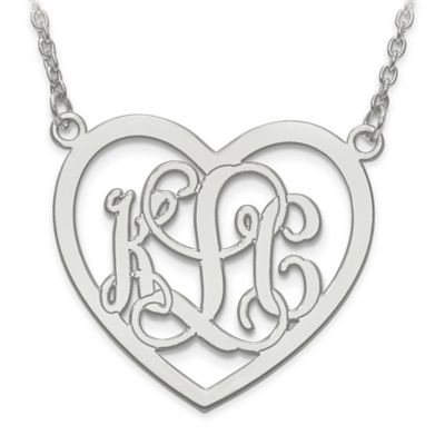 Sterling Silver Large Etched Elegant Script Letters Open Heart Pendant Necklace