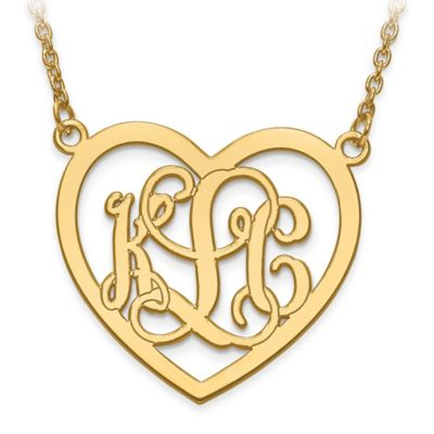 10k Yellow Gold Etched Elegant Script Letters Large Open Heart Pendant Necklace