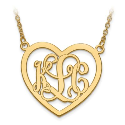 14K Yellow Gold Large Elegant Script Letters 18-Inch Chain Open Heart Pendant Necklace