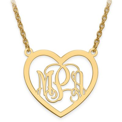14K Yellow Gold Small Elegant Script Letters 18-Inch Chain Open Heart Pendant Necklace