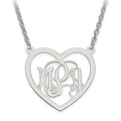 14K White Gold Small Elegant Script Letters 18-Inch Chain Open Heart Pendant Necklace