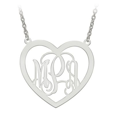 Sterling Silver Elegant Script Letters 18-Inch Chain Large Open Heart Pendant Necklace