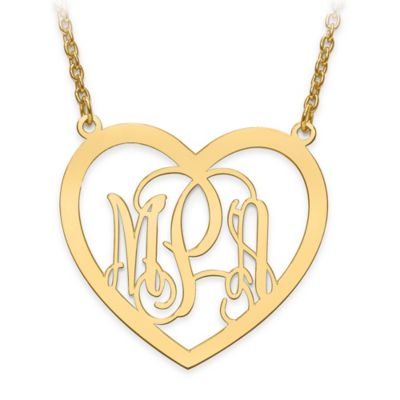 14K Yellow Gold Laser-Cut Elegant Script Letters 18-Inch Chain Large Open Heart Pendant Neckla