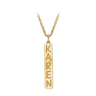 14K White Gold 18-Inch Chain Vertical Nameplate Pendant Necklace
