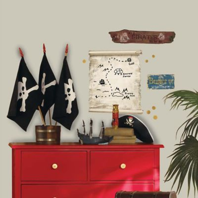 York Wallcoverings Pirates Map and Signs Peel and Stick Giant Wall Decals