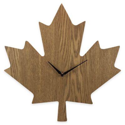 Maple Leaf Wood Grain Wall Clock
