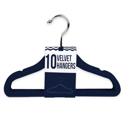 Kids Velvet Hangers in Navy (Set of 10)