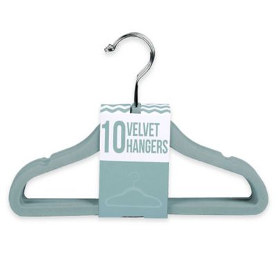 Kids Velvet Hangers in Aqua (Set of 10)