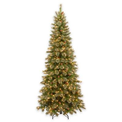 National Tree 7.5-Foot Glittery Gold Pine Pre-Lit Slim Hinged Christmas Tree with Clear Lights