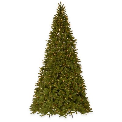 "National Tree 10.5-Foot Fraser Fir ""Real-Feel®"" Pre-Lit Hinged Christmas Tree with Clear Lights"