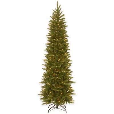 National Tree Company 7.5-Foot Real Grande Fir Pre-Lit Pencil Christmas Tree with Clear Lights