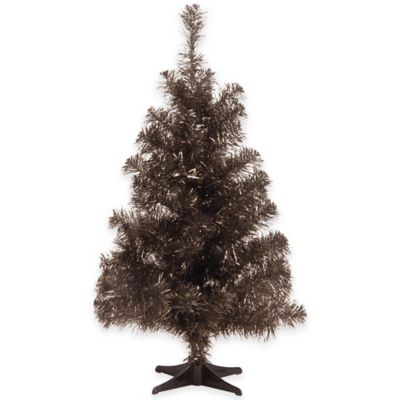 National Tree 2-Foot Black Tinsel Christmas Tree