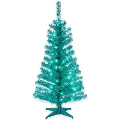 National Tree Tinsel 4-Foot Pre-Lit Tree in Turquoise