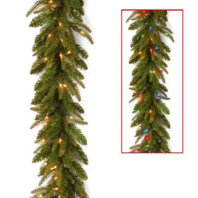 "National Tree Fraser Grande 6-Foot ""Feel-Real®"" Garland with Dual-Color LED Lights"
