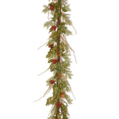 National Tree Company Decorative Collection Holly/Fern 6 ft. Pine Garland with Berries and Cones