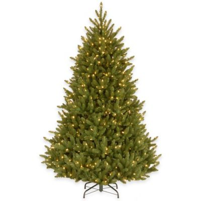 National Tree 7.5-Foot Natural Fraser Medium Fir Pre-Lit Hinged Christmas Tree with Clear Lights