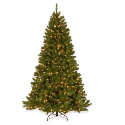 National Tree 7-Foot North Valley Spruce Hinged Tree Christmas Tree with Clear Lights
