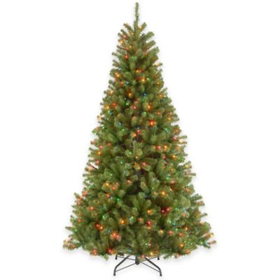 National Tree 7-Foot Valley Spruce Hinged Tree Christmas Tree with Multicolor Lights