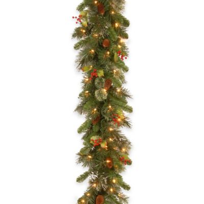 National Tree Company Wintry Pine 9-Foot Garland with Pinecones and White LED Lights