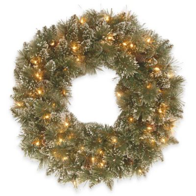 National Tree Company 24-Inch Glittery Bristle Pine Pre-Lit Christmas Wreath with Clear Lights