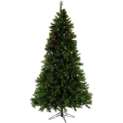 Fraser Hill Farm 7.5-Foot Pre-Lit Multi-Colored Canyon Pine Artificial Christmas Tree