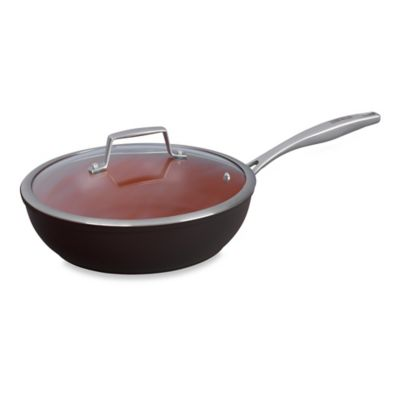Bialetti® Terracotta Xtra 11-Inch Covered Deep Sauté Pan in Brown